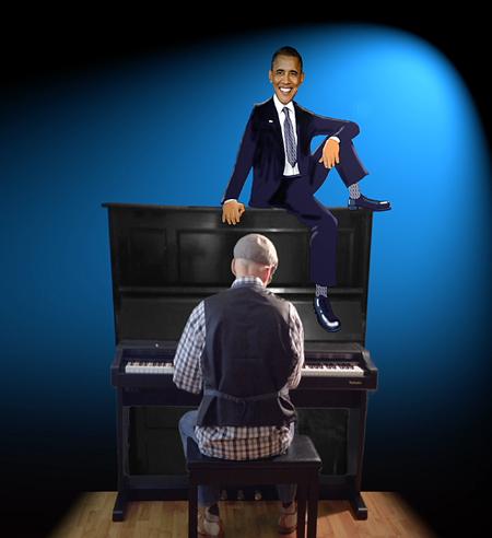 Musician Neal Fox at His Piano